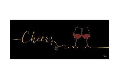 Underlined Wine I Black-Veronique Charron-Art Print