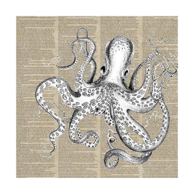 Underwater Newsprint Creatures II-A Fresh Bunch-Art Print