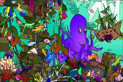 Underwater Octopus-Howie Green-Giclee Print