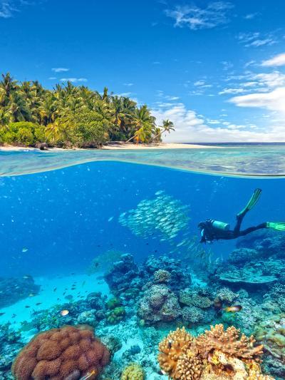 Underwater Photography with Tropical Island-Jakub Gojda-Photographic Print