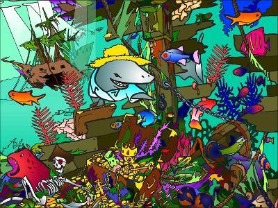 Underwater Shark-Howie Green-Giclee Print