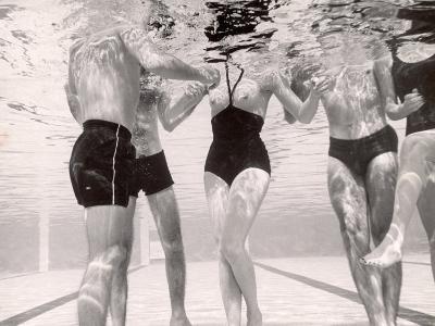 Underwater Shot of Actress Daphne Dayle in Topless, One Piece Swim Suit by Designer Ruben Torres-Paul Schutzer-Photographic Print