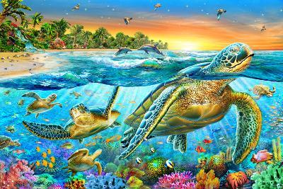 Underwater Turtles-Adrian Chesterman-Art Print