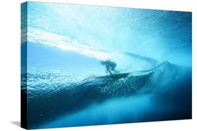 Underwater View of a Surfer with a Surfboard-Andy Bardon-Stretched Canvas Print