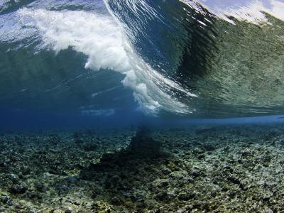 Underwater View of a Wave Crashing over a Coral Reef, Micronesia-David Fleetham-Photographic Print