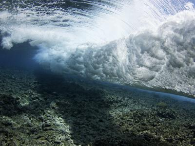 Underwater View of a Wave Crashing over a Coral Reef, Yap, Micronesia-David Fleetham-Photographic Print