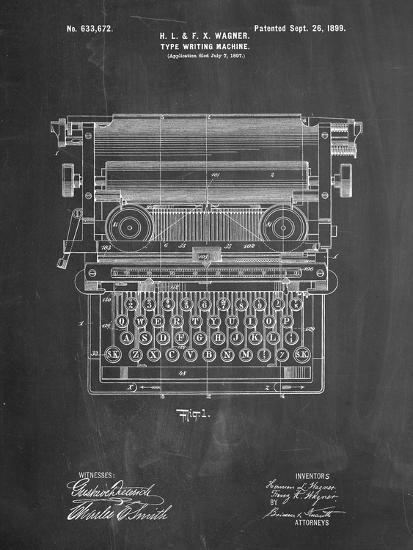 Underwood Typewriter Patent-Cole Borders-Premium Giclee Print