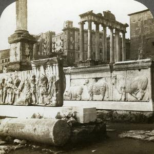 Bas Reliefs of Trajan and Column of Phocas in the Forum, Rome, Italy by Underwood & Underwood