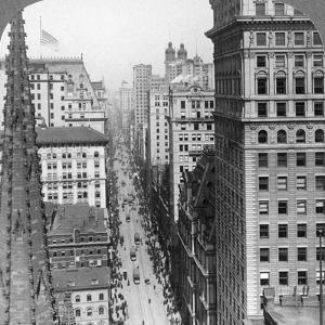 From the Empire Building Past Trinity Church Up Broadway, 1902 by Underwood & Underwood
