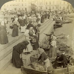 Market Boats, Helsinki, Finland by Underwood & Underwood
