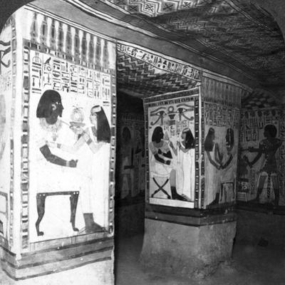 Painted Tomb Chamber Hewn in the Rock of the Cliffs at Thebes, Egypt, 1905