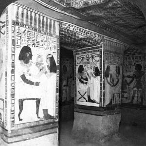 Painted Tomb Chamber Hewn in the Rock of the Cliffs at Thebes, Egypt, 1905 by Underwood & Underwood