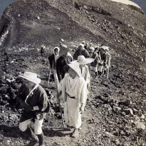 Pilgrims at the End of their Ascent of Mount Fuji (Fujiyam), Japan, 1904 by Underwood & Underwood