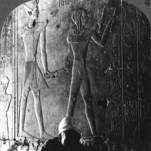 Sethos I and His Son Ramses II Worshiping their Ancestors, Abydos, Egypt, C1900 by Underwood & Underwood