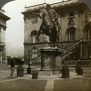 Statue of the Emperor Marcus Aurelius, Rome, Italy by Underwood & Underwood