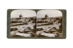 The Dome of the Rock, Where the Temple Alter Stood, Mount Moriah, Jerusalem, Palestine, 1900 by Underwood & Underwood