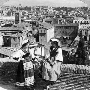 Two Women in Traditional Costume in Rome, Italy by Underwood & Underwood