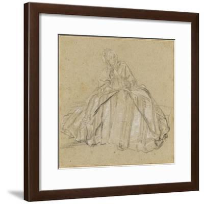 Une femme assise, vêtu d'un large vêtement rayé, les mains dans un manchon-Nicolas Lancret-Framed Giclee Print