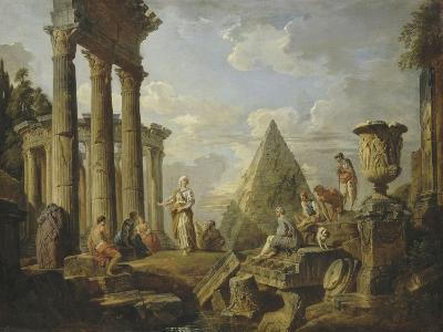 Une Sibylle prêchant dans des ruines-Giovanni Paolo Pannini-Giclee Print