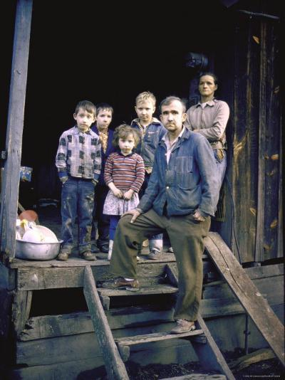 Unemployed Miner Standing with Family, Who Live on Social Security, Poverty in Appalachia-John Dominis-Photographic Print