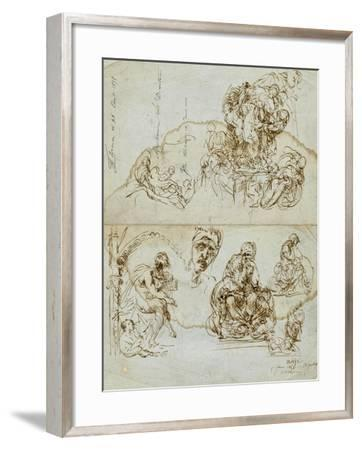 Unfinished Letter with Studies for the Ugolino Group, 1858-Jean-Baptiste Carpeaux-Framed Giclee Print