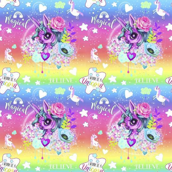 Unicorn Rainbow Ombre Pattern-Sheena Pike Art And Illustration-Giclee Print