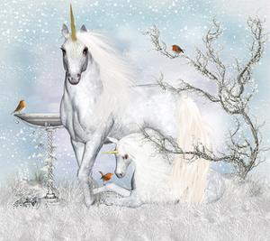 Unicorn with Foal in Winter