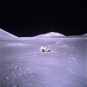 Unident. Apollo 17 Astronaut in Lunar Surface Vehicle During Lunar Exploration