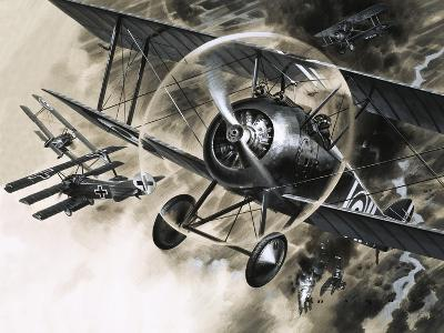Unidentified Dog Fight Between British Biplanes and a German Triplane-Wilf Hardy-Giclee Print
