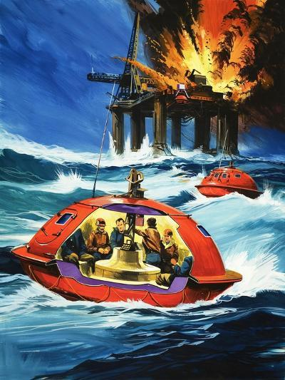 Unidentified Liferaft Escaping Explosion on Oil Rig-Wilf Hardy-Giclee Print