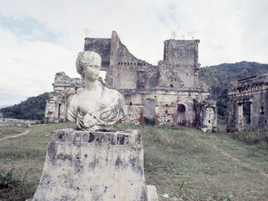 Unidentified Ruins Including Bust of a Woman in Haiti-Lynn Pelham-Photographic Print