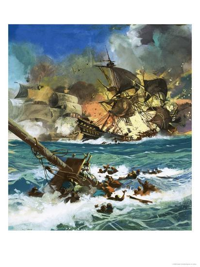 Unidentified Sailing Ship Exploding--Giclee Print