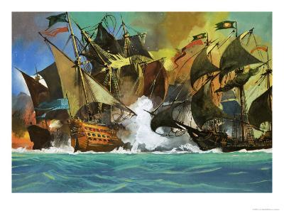Unidentified Sea Battle-Severino Baraldi-Giclee Print