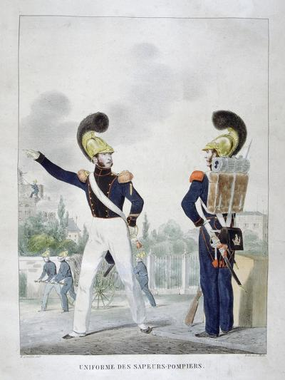 Uniform of Military Sapper-Firemen, France, 1823-Charles Etienne Pierre Motte-Giclee Print