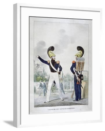 Uniform of Military Sapper-Firemen, France, 1823-Charles Etienne Pierre Motte-Framed Giclee Print