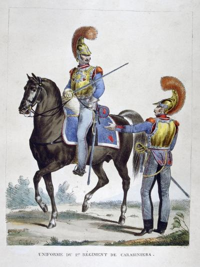 Uniform of the 1st Regiment of Carabiniers, France, 1823-Charles Etienne Pierre Motte-Giclee Print