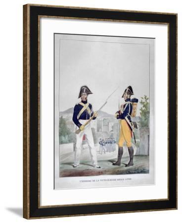 Uniform of the Royal Foot Gendarmes, France, 1823-Charles Etienne Pierre Motte-Framed Giclee Print