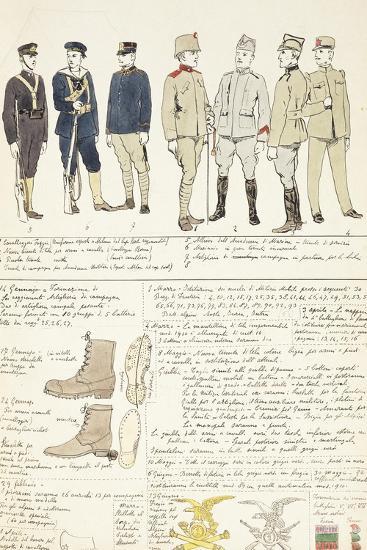 Uniform Variations of Kingdom of Italy, 1912--Giclee Print