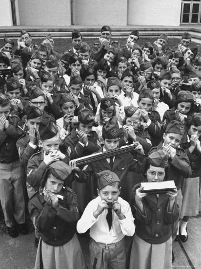 Uniformed Children Who Are Members of Levittown Harmonica Band Playing Harmonicas-Peter Stackpole-Photographic Print
