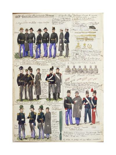 Uniforms and Badges of Provisional Government of Tuscany--Giclee Print