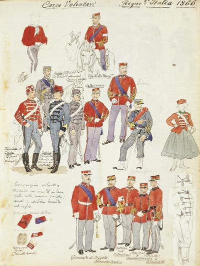 Uniforms of Army Volunteer Corp of Kingdom of Italy, Color Plate, 1866--Giclee Print