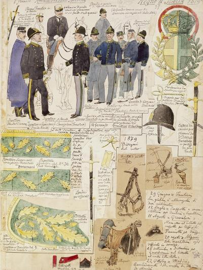 Uniforms of Forestry Administration of Kingdom of Italy, Color Plate by Quinto Cenni, 1879--Giclee Print