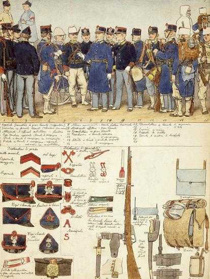 Uniforms of Grenadiers of Sardinia, Line Infantry, Troop of Kingdom of Italy--Giclee Print