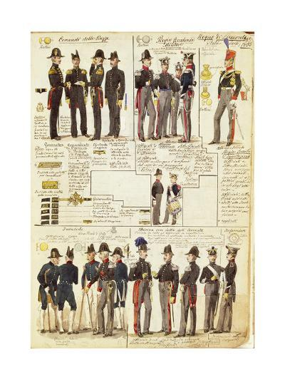 Uniforms of the Piedmontese Army from 1833--Giclee Print