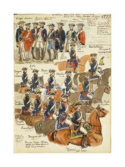 Uniforms of the Sardinian Army During the Reign of Vittorio Amedeo III, 1773--Giclee Print