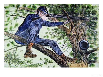 Union Army Sharpshooter Using Telescopic Sights--Giclee Print