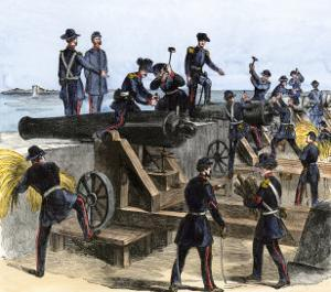Union Army Spiking the Cannons of Fort Moultrie before Evacuating to Fort Sumter, c.1860