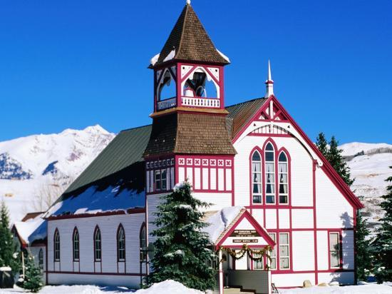 Union Congregational Church in Snow, Crested Butte, Colorado-Holger Leue-Photographic Print