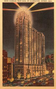 Union Guardian Trust Building at Night, Detroit, Michigan