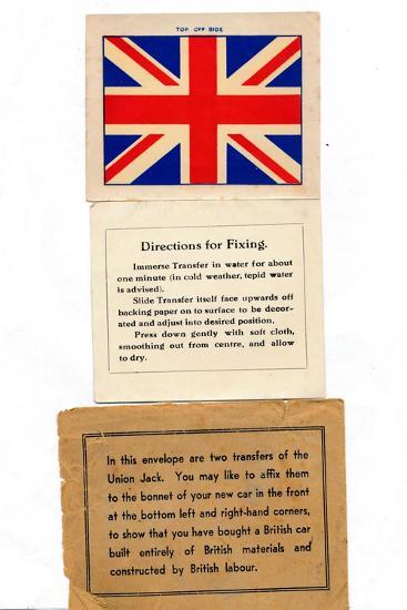 'Union Jack car transfers', c1960s-Unknown-Giclee Print